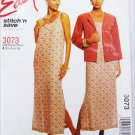 McCall 3073 misses unlined jacket and dress sizes 10 12 14 16 UNCUT