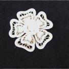 Plastic flower pin open lattice work light cream color unmarked vintage