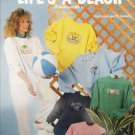 Life's a Beach 6 cross stitch designs for sweatshirts or more Bette Ashley