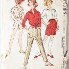 McCall 4822 misses shirt slacks shorts size 13 bust 33 vintage 1958