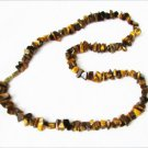 "Tiger eye irregular stones necklace 19"" unmarked jewelry"
