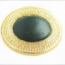 Buckle Day Lor USA green leather center in brass large  oval 2 3/4 x 3 1/2