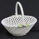 Lahuerta hand made Manises Spain mini basket lattice pink flowers