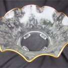 Cambridge Rosepoint footed crimped bowl gold trim 4 toed Rose Point
