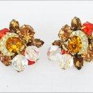 Clip earrings amber pink rhinestones crystal beads vintage crescent overlay