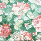 "Large red/pink cabbage rose & green decorator fabric 44"" polyester blend fabric"