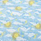"Jaftex soft blue sun moon stars clouds fleece type fabric for PJs 44"" wide"