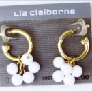 Liz Claiborne earrings white beads on gold tone hook new on card