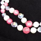 "Double strand faux pearl necklace rose frost & crystal beads 24"" probably Japan"