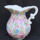"Andrea by Sadek rose chintz pitcher 5 1/2"" tall probably transfer ware"