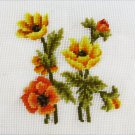 Needlepoint canvas yellow orange flowers 12 x 12 pillow top as is