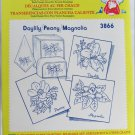 Aunt Martha hot iron transfers 3866 Daylily Peony Magnolia for embroidery sealed