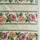 Fenton fabric  by Belle cabbage roses stripes for decor drapery pillows