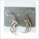 Sterling half moon dangle earrings pierced ears
