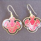 Pierced earrings red black cloissone look pendants by Roman