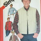 "Simplicity 5350 man's shirt quilted vest size 40 UNCUT pattern 15 1/2"" neckband"