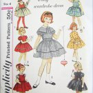 Simplicity 4586 girls dress weskit jumper optional capelet c 1950s pattern