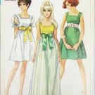 Simplicity 8061 misses empire style dress size 8 vintage 1968 square neckline