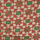 Stars hearts in squares quilt fabric deep red cream green