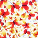 JoAnn fabric bold orange yellow butterflies white background 1 1/2 yards