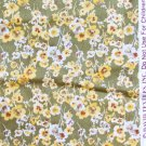 David Textiles fabric mossy green yellow white flowers
