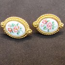 Avon earrings porcelain centers painted roses gold tone border oval