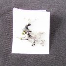Witch on broomstick black hat silver bracelet charm 3/4""