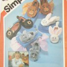 Simplicity 6231 slippers boys girls UNCUT S M L pattern bears lions bunnies mice