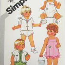 Simplicity 5523 toddler sunsuit & jackets sizes 1/2 & 1 UNCUT pattern