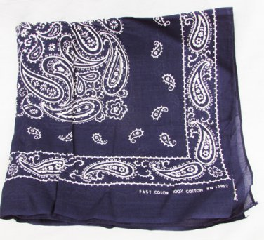 """Navy bandana Fast Color all cotton ood 20 x 21"""" paisley pattern good"""
