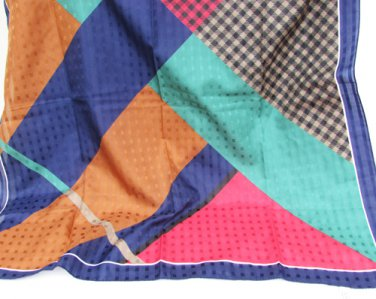 "Italian scarf geometric navy red green rust colors 30"" square polyester"