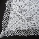 "Hand crocheted table doily 15 x 15"" center longer corners very fine thread white"
