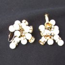 Vogue clip earrings faux pearls beads and rhinestones in grape cluster jewelry