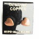 Copper heart stud earrings never used on card
