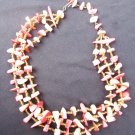 Rhodochrosite natural pebble bead necklace 3 strand choker vintage jewelry
