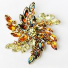 "Pin pronged rhinestones large yellow amber stones 3"" diameter flower burst"