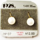 1928 faux pearl earrings 14K GF wire hook type pierced ears on original card