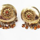 Clip earrings round yellow orange rhinestone dangles vintage jewelry