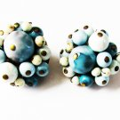 Clip earrings Japan white aqua blue beads vintage jewelry