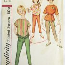 Simplicity 3704 girl's top pants size 10 breast 28 vintage 1960s pattern