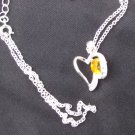 Heart pendant yellow stone clear rhinestones silver tone setting modern necklace