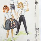 McCall 4943 girls skirt pants blouse size 8 breast 26 vintate 1959 pattern