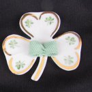Irish Dresden shamrock miniature gold trim green bow Cash of Ireland china