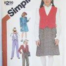 Simplicity 6090 girls pants skirt lined jacket vest size 8 B27 UNCUT pattern