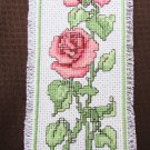 Rose bookmark finished cross stitch pink red flowers completed