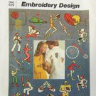 Simplicity 6958 sport embroidery designs transfers vintage 1975 unused