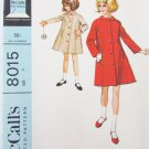 McCall 8015 girls coat size 6 breast 24 vintage 1965 pattern