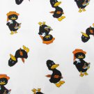 Ducks on white fabric children denin material 34 x 44 as is