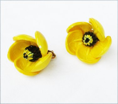 Large flower earrings yellow clip on composite material vintage