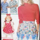 Butterick 5232 misses pullover top apron placemats potholder bag plus doll dress